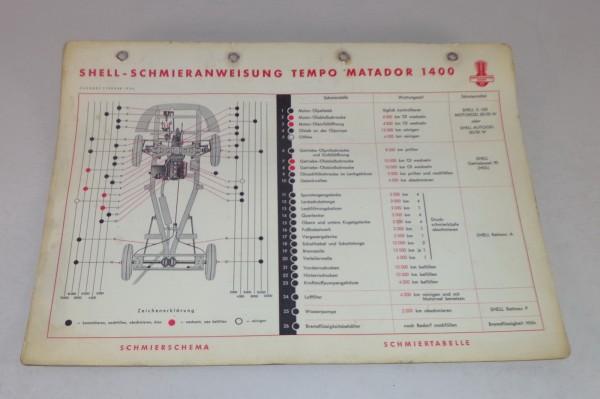 Shell Schmierplan für Tempo Matador 1400 Stand 02/1954