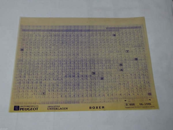 Microfich Ersatzteilkatalog / Ersatzteilliste Peugeot Boxer Stand 04/1996