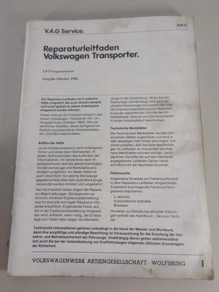 Werkstatthandbuch / Reparaturleitfaden VW Bus T3 1,9l- Vergasermotor von 10/1982