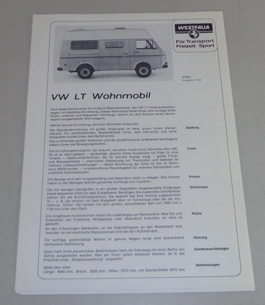 Prospekt mit Preislliste VW LT 28 Westfalia Salzburg / Como Stand 11/1976