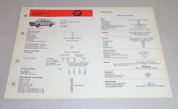 Schmierplan + Technische Daten BMW Serie 02 1600