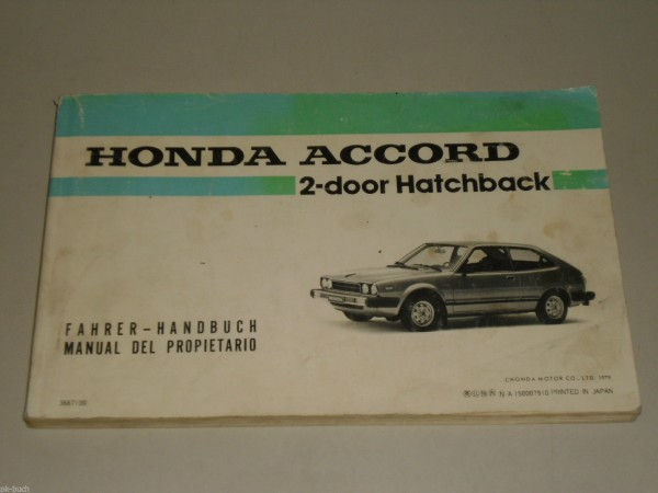 Betriebsanleitung Owner\'s Manual Honda Accord Stand 10/1979