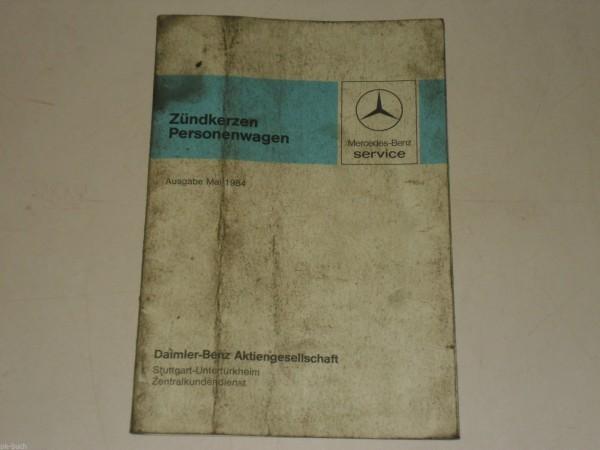 Tabellenbuch Faltblatt Zündkerzen Mercedes Benz Personenwagen PKW, 05/1984