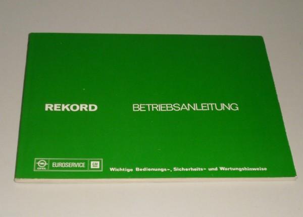 Betriebsanleitung Handbuch Opel Rekord D, Stand 05/1976