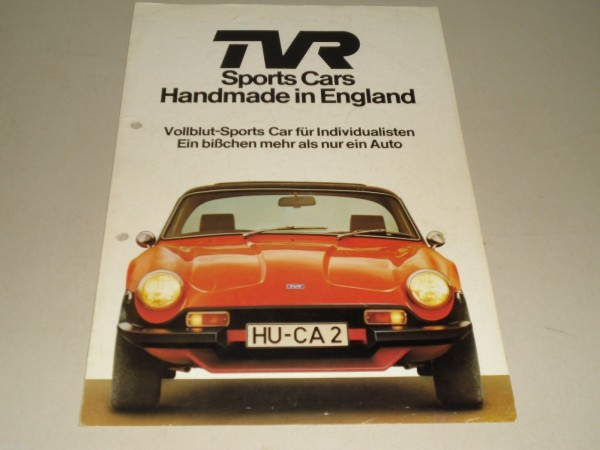 Auto Werbung Prospekt TVR 3000 Sports Cars Handmade in England, Stand 08/1977