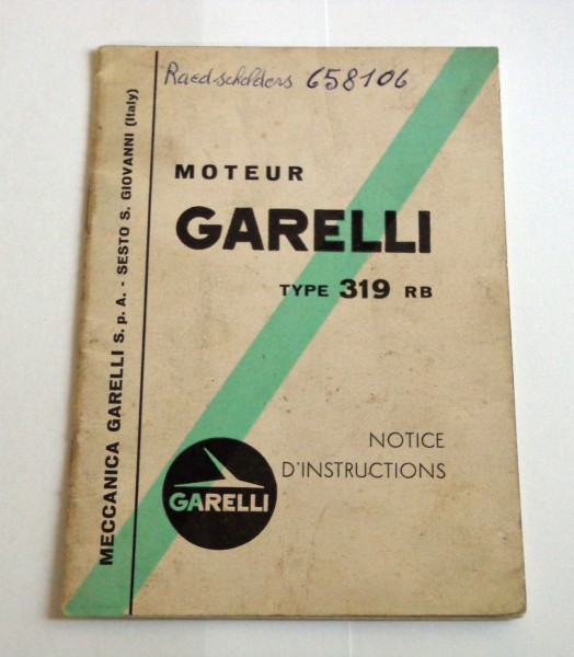 Betriebsanleitung / Notice D´Instructions Moteur Garelli Type 319 RB