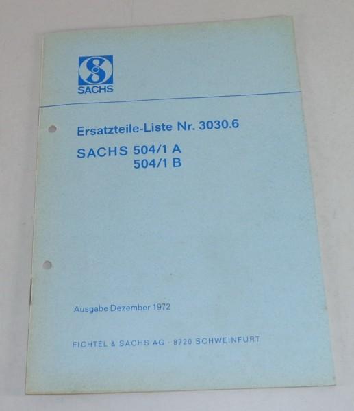 Teilekatalog Sachs Motor 504/1 A / 504/1 B Stand 12/1972