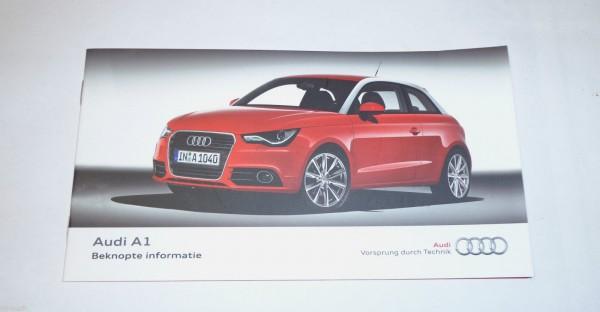 Betriebsanleitung Instructieboekje Beknopte informatie Audi A1, Stand 2010