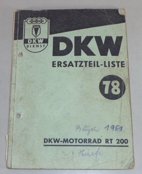 Teilekatalog DKW Motorrad RT 200