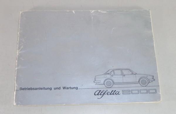 Betriebsanleitung / Handbuch Alfa Romeo Alfetta 2000 Stand 05/1977