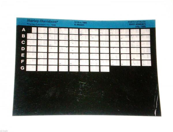 Microfich Ersatzteilkatalog Harley Davidson XL Model 1979 bis 1985 Stand 07/1988