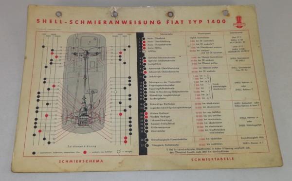 Shell Schmierplan für Fiat Typ 1400 Stand 01/1954