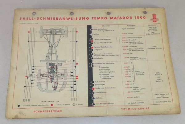 Shell Schmierplan für Tempo Matador 1000 Stand 11/1953