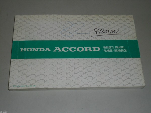 Betriebsanleitung Owner\'s Manual Honda Accord Stand 10/81