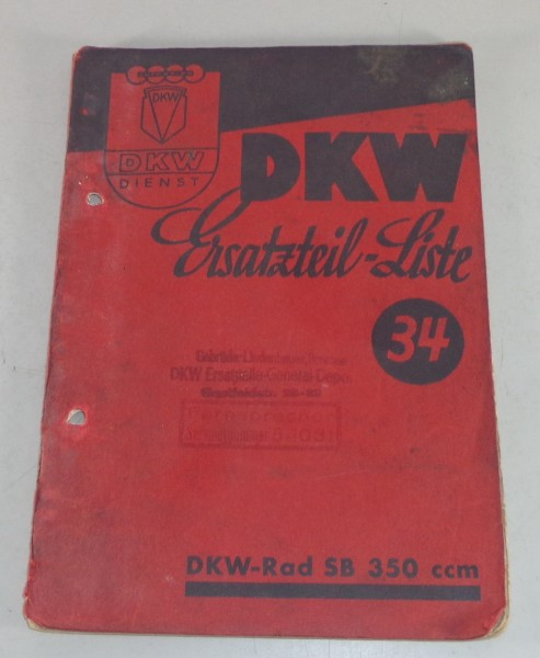 Teilekatalog DKW Rad SB 350ccm