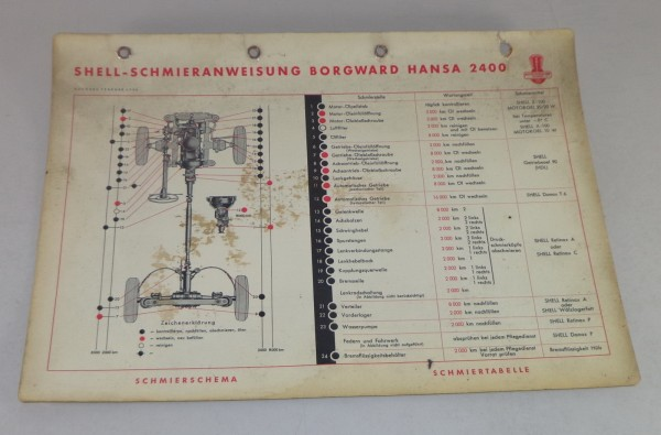 Shell Schmierplan für Borgward Hansa 2400 Stand 02/1954