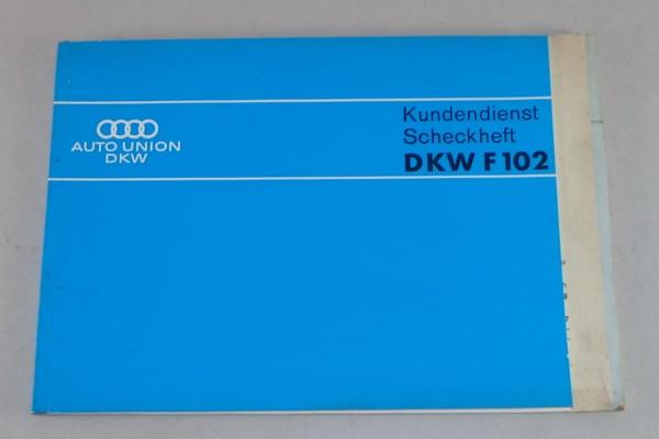 Scheckheft DKW F102 blanko + ohne Einträge Stand 03/1965