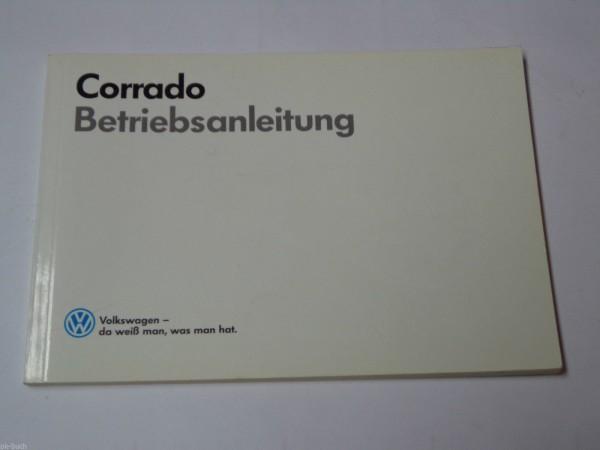 Betriebsanleitung / Handbuch VW Corrado Stand 09/1988