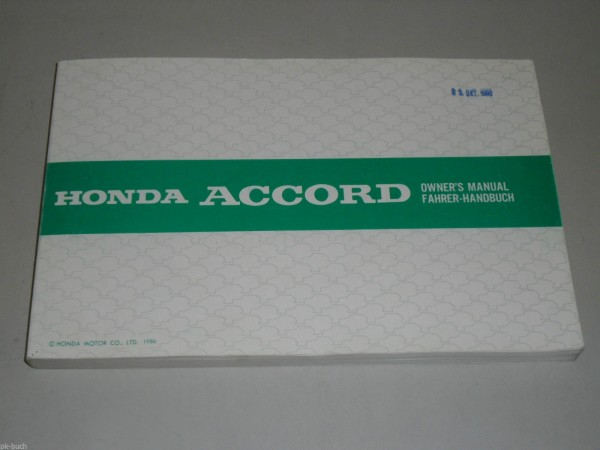 Betriebsanleitung Owner\'s Manual Honda Accord Stand 10/1986
