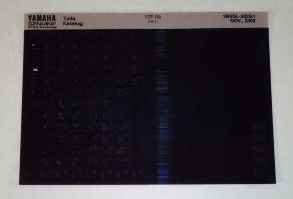 Microfich Parts Catalogue / Ersatzteilkatalog Yamaha YZF - R6 Stand 11/2002