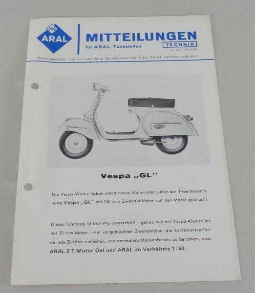 Service Mitteilung Aral Vespa Gl Von 05 1964 Pk Buch