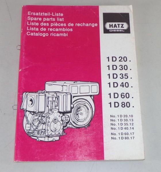 Teilekatalog / Parts list Hatz Dieselmotor 1D20 / 1D30 / 1D35 /1D40 / 1D60 /1D80