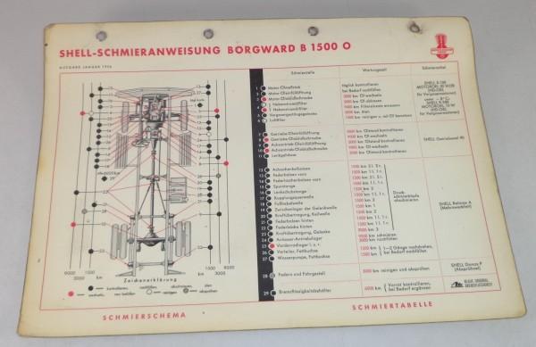 Shell Schmierplan für Borgward B 1500 O Stand 01/1956