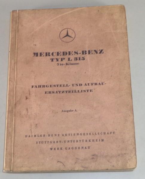 Teilekatalog Mercedes Benz L 315 Stand 12/1954