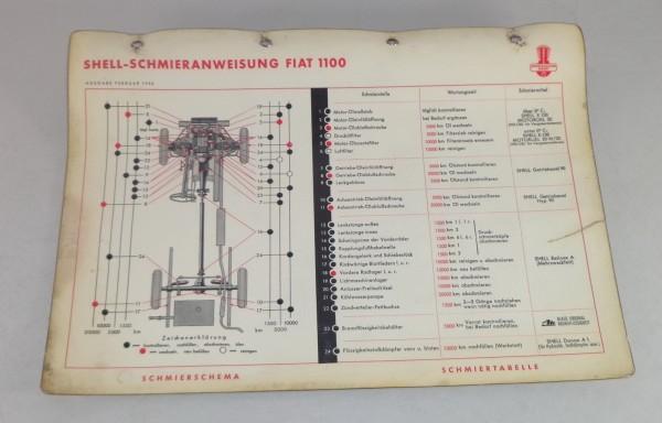 Shell Schmierplan für Fiat Typ 1100 Stand 02/1956
