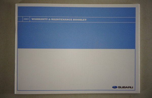 scheckheft maintenance booklet subaru blanko stand 07. Black Bedroom Furniture Sets. Home Design Ideas