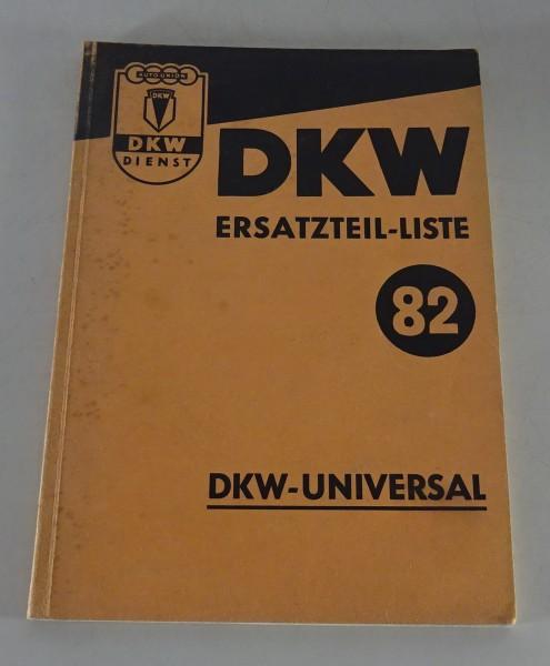 Teilekatalog DKW F89 U / Universal Meisterklasse Stand 09/1952