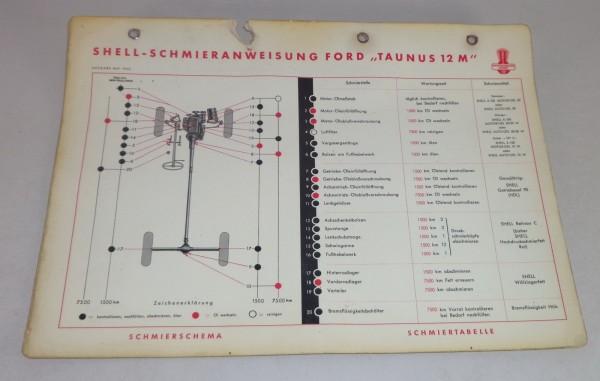 Shell Schmierplan für Ford Taunus 12 M G13 Weltkugel Stand 05/1952