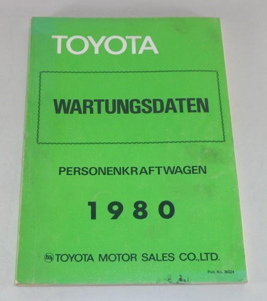 Werkstatthandbuch / Wartungsdaten Toyota PKW div. Modelle Stand 1980