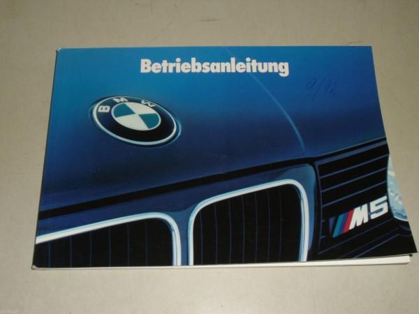 Betriebsanleitung Handbuch BMW Motorsport 5er Reihe E 34 M5, Stand 01/1992