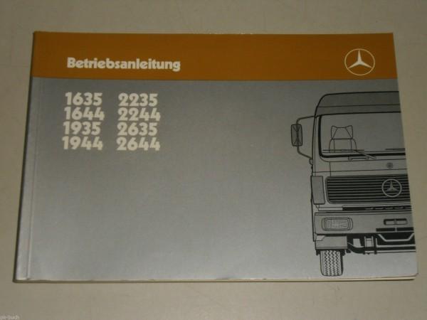 Betriebsanleitung Handbuch Mercedes Benz LKW Typ 1635 - 2644, September 1985
