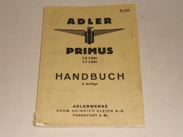 Betriebsanleitung / Handbuch Adler Primus 1,5 / 1,7 Liter Stand 09/1933