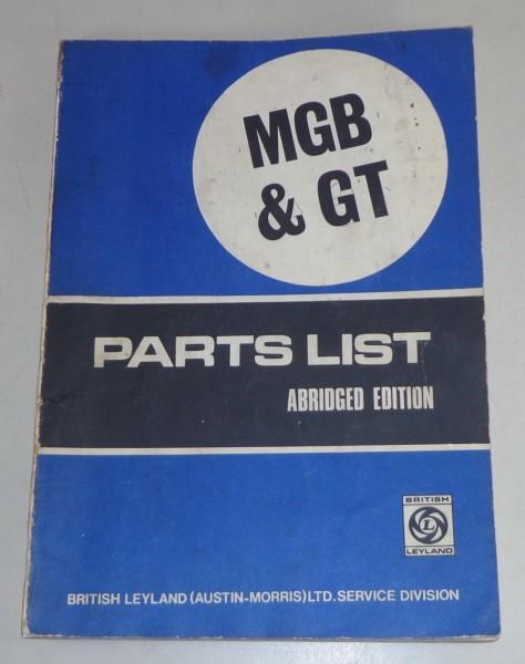 Teilekatalog / Spare Parts List MG MGB / MGB GT / MGB Roadster Stand 1971