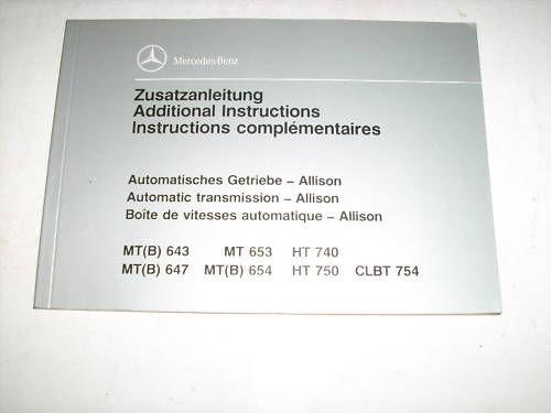 Betriebsanleitung Mercedes Automatik Getriebe 10/1991