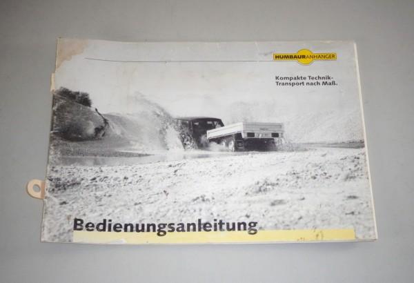 Betriebsanleitung / Handbuch Humbaur Anhänger Stand 05/1997
