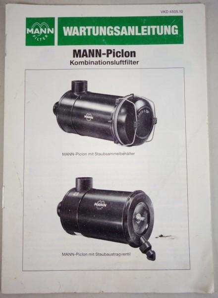 Wartungsplan / Handbuch Mann-Piclon Kombinationsluftfilter Stand 03/1985