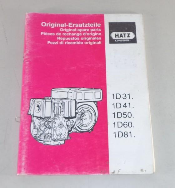 Teilekatalog / Parts list Hatz Dieselmotor 1D31 / 1D41 / 1D50 / 1D60 / 1D81