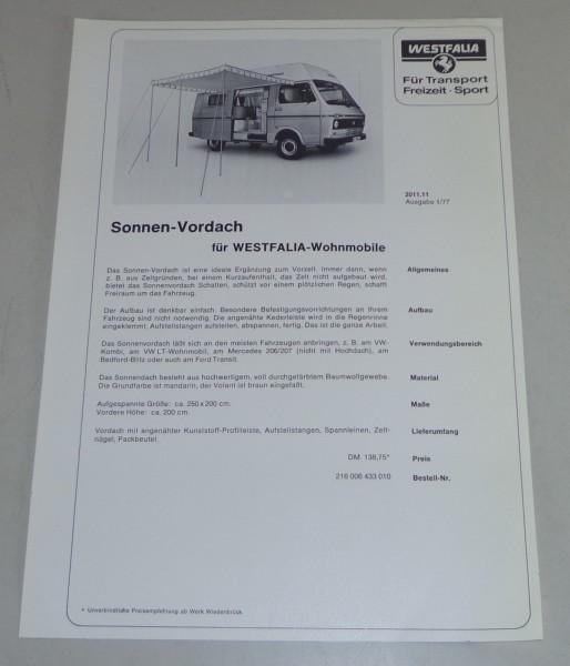 Prospektblatt Sonnen Vordach für VW LT 28 Westfalia Wohnmobil Stand 01/1977