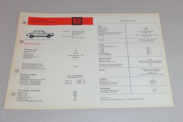 Schmierplan + Technische Daten NSU 110 S / SL Prinz