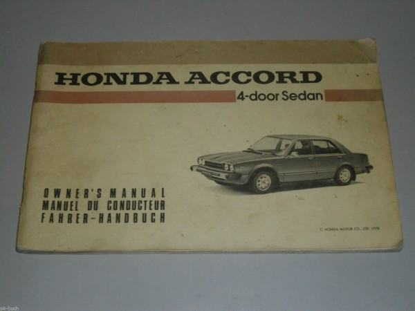 Betriebsanleitung Owner\'s Manual Honda Accord Stand 10/1978
