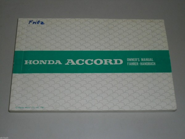 Betriebsanleitung Owner\'s Manual Honda Accord Stand 10/1981