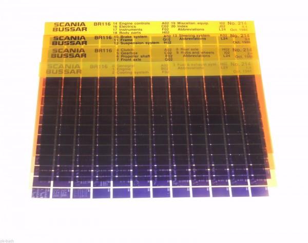 Microfich Ersatzteilkatalog / Parts Catalogue Scania Bussar BR 116 Bus 10/1986