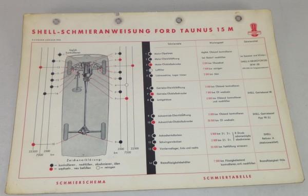 Shell Schmierplan für Ford Taunus 15 M G13 Weltkugel / Streifen Stand 01/1955