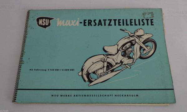 Teilekatalog Ersatzteilkatalog Ersatzteilliste NSU Maxi Stand 04/1957