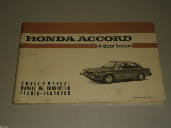 Betriebsanleitung Owner\'s Manual Honda Accord Stand 01/1979