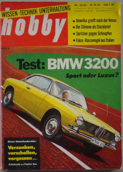 hobby magazin heft nr 22 1962 mit bmw 3200 cs bertone. Black Bedroom Furniture Sets. Home Design Ideas